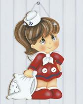 Placa de Porta MDF Decoupage Menina Marinheira DM-066 - Litoarte -