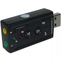Placa De Som Adaptador Áudio Usb 7.1 Para Pc Ou Notebook - Entrada P2 Para Fone E Microfone - Channel