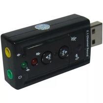 Placa De Som Adaptador Áudio Usb 7.1 Para Pc Ou Notebook - Entrada P2 Para Fone E Microfone - KING