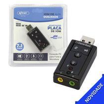 Placa De Som Adaptador Áudio Usb 7.1 Para Pc Ou Notebook Entrada P2 Para Fone E Microfone - Knup