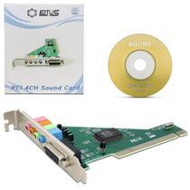 Placa de Som PCI para Áudio 4 Canais Reposição Alta Qualidade com CD - Nem Compara