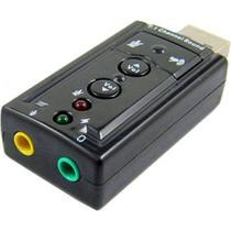 Placa de Som USB (Macho)  2x P2 (Fone e Microfone) MD9 - Preto - 7927 -