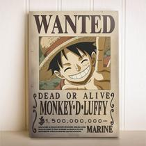 Placa Decorativa Anime One Piece Wanted Monkey D Luffy - Cogumenlo Corp
