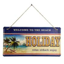 Placa Decorativa Beach Holiday Em Ferro L40Xp20Cm - 24233 - L hermitage