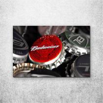 Placa Decorativa Bebidas Tampinha de Budweiser - Fabrika De Festa