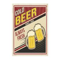 Placa decorativa Cold Beer 20x30 cm Preto - Kapos