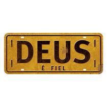 Placa Decorativa Deus é Fiel 14,6x35cm DHPM2-053 - Litoarte -