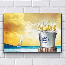 Placa Decorativa em MDF com 20x30cm - Modelo P150 - Cerveja Corona - R+ adesivos