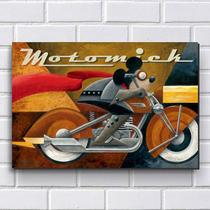 Placa Decorativa em MDF com 20x30cm - Modelo P208 - Moto Mickey - R+ adesivos