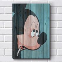 Placa Decorativa em MDF com 20x30cm - Modelo P446 - Mickey - Humor - R+ adesivos