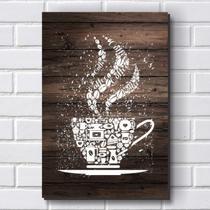 Placa Decorativa em MDF com 20x30cm - Modelo P558 - Café - R+ Adesivos