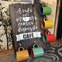 Placa decorativa em mdf - porta xícaras café - c3030 - R+ Adesivos