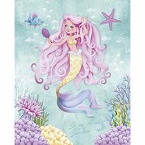Placa Decorativa Litoarte DHPM-242 24x19cm Sereia de Cabelo Rosa -