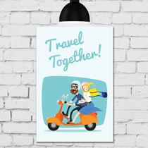 Placa Decorativa MDF Namorados na Moto Travel Together 30x40 - Quartinhos