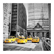 Placa decorativa New York Taxi 25x25 cm Preto - Kapos