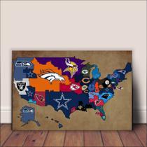 Placa Decorativa Poster Esporte Futebol Americano - Mapa dos Times PDEFA-047 - Arte Com Mdf