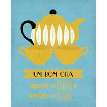 Placa Decorativa Um Bom Chá 24x19cm DHPM-136 - Litoarte -