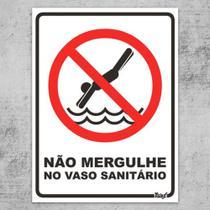 Placa Divertida Não Mergulhe no Vaso Sanitário - Yaay!