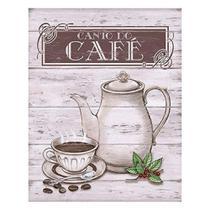 Placa em MDF decorativa 19x24cm canto do café - Litoart -