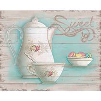 Placa em MDF e Papel Decor Home Chá e Macarons DHPM-072 - Litoarte -