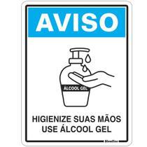 Placa em PS 15x20cm Higienize suas Mãos, Use Álcool em Gel Ref. COV02 - Sinalize