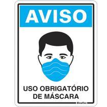 Placa em PS 15x20cm Uso Obrigatório de Máscara Ref. COV01 - Sinalize