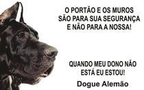 Placa Identificação Cão Bravo Cuidado Dogue alemão - Shopmedclean