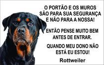 Placa Identificação Cão Bravo Cuidado Rottweiler - Shopmedclean