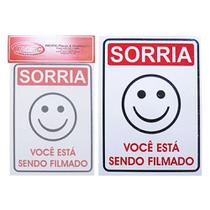 Placa Indicativa Sorria Voce Esta Sendo Filmado 15x20cm - Pacific