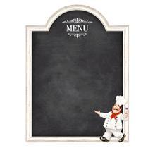 Placa Lousa de MDF e Papel Decor Home Litoarte 44 x 59 cm   Modelo DHLO5-001 Menu Cozinheiro -