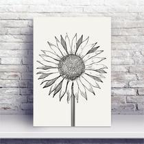 Placa MDF desenho flor girassol preto e branco - Conspecto