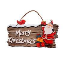 Placa Merry Christmas com Papai Noel - Realejos