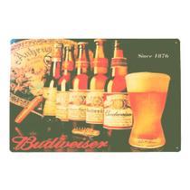 Placa Metal Pintada Decorativa 20x30cm Cerveja Budweiser - Tenda