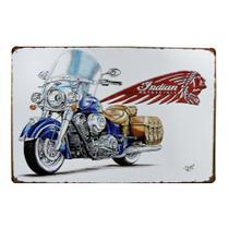 Placa Metal Pintada Decorativa 20x30cm Retro Moto Indian - Tenda