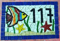 Placa numérica em mosaico casa e sol 40 cm - Myo Atelier