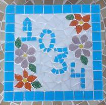 Placa numérica em mosaico coruja florida 40 cm - Myo Atelier