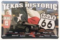 Placa Personalizada em Metal Decorativa ''Route 66 Texas Historic''. - YAAY