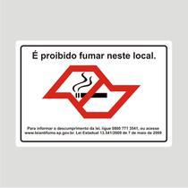 Placa Proibido Fumar 25 Cm X 17 Cm em PVC - Estado de São Paulo - Micro oficina