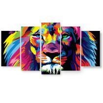 Placa Quadro Decorativo Mosaico 5 Partes Leão Colorido - Ofertmix