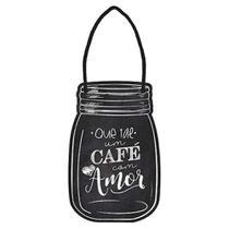 Placa TAG MDF Decorativa Litoarte DHT2-037 11,5x7,5cm Que Tal um Café com Amor -