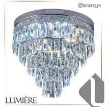 Plafon de cristal Florença 45cm Cromado - Startec