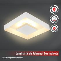 Plafon De Luz Indireta Sobrepor 35x35cm Para 4 Lâmpadas E27 Branco - Lcgeletro