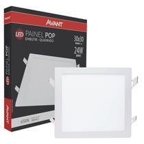 Plafon Led Quadrado 24w Painel Embutir Slim Avant 1ª Linha -