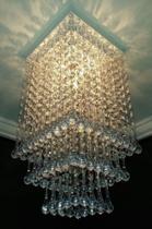 Plafon Lustre De Cristal Acrílico Sala Escada Hall Luminária Decoração Quarto Forro PVC Gesso -Viena - Lustres Sh Design