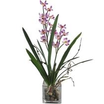 Planta artificial com vaso de vidro - 30 cm - Btc decor