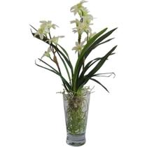 Planta artificial com vaso de vidro - 33 cm - Btc decor