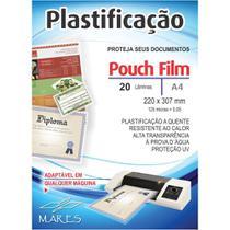 Plastico para Plastificacao 0,05 A4 220x307mm PT 20UN Mares -