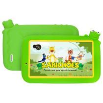 Plataforma de Ensino Infantil Sabichões conteúdo pedagogo, capa de sapo verde e suporte de mãozinha - Dl