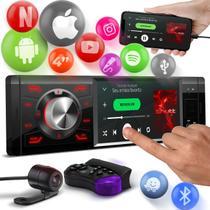 """Player Automotivo MP5 Shutt Los Angeles Full 4"""" Espelha Android IOS Tela Touch Controle Câmera de Ré -"""