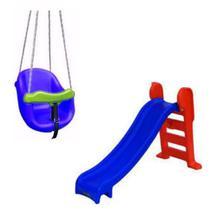 Playground Escorregador Médio + Balanço Infantil - Azul - Natalplast
